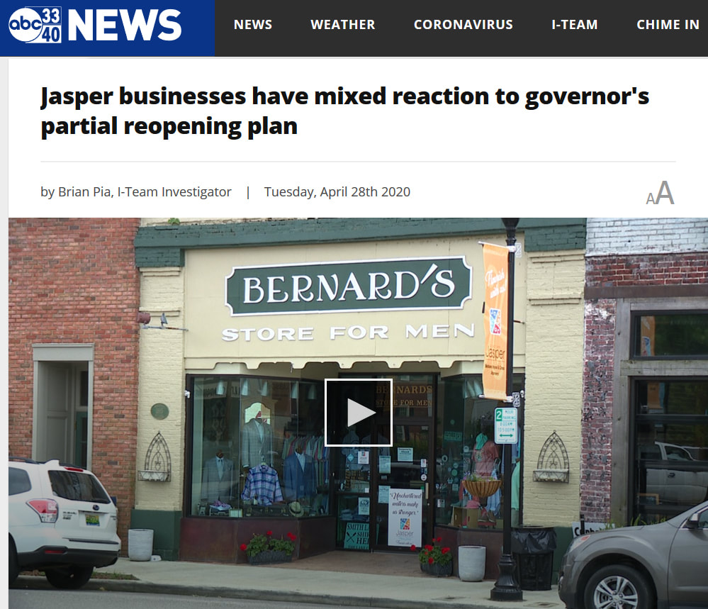 Bernards Store for Men on ABC 3340 news interviewed about the governor's partial reopening plan