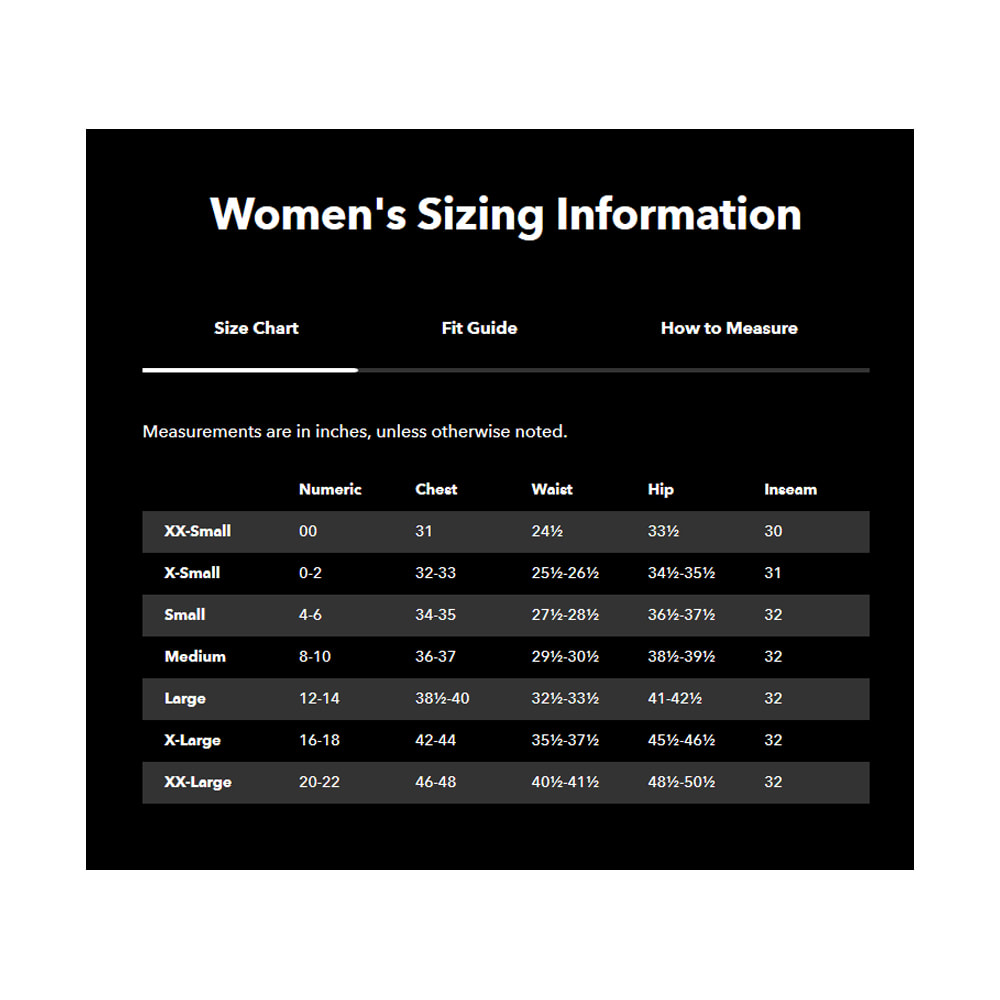 patagonia womens sizing information